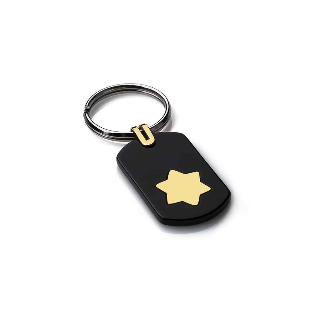 Hexagram Gold Key Ring