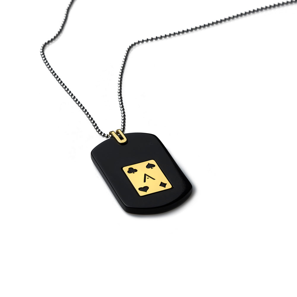Ace Gold Tag Necklace