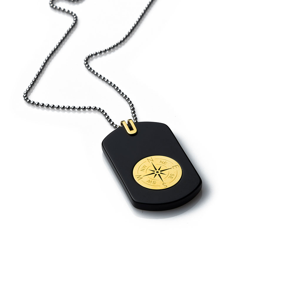 Compass Gold Tag Necklace