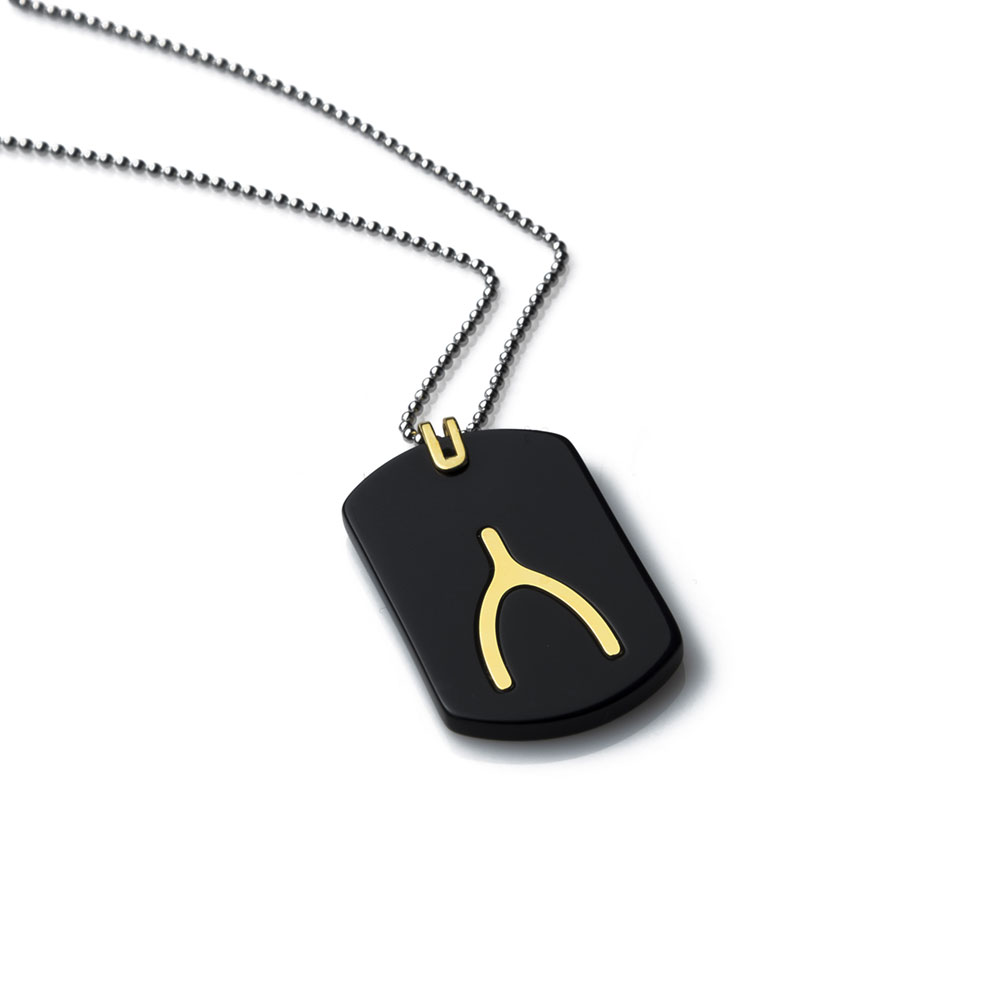 Wishbone Gold Tag Necklace